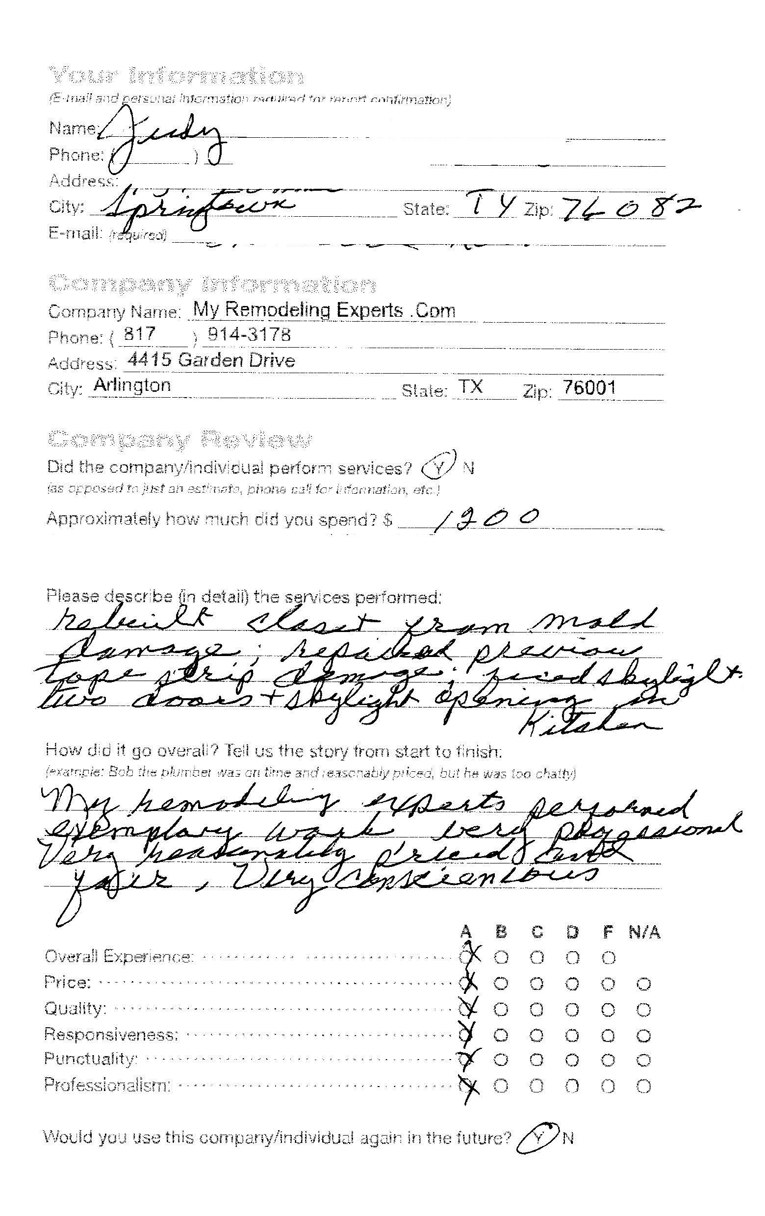 Testimony 5 My Remodeling Experts