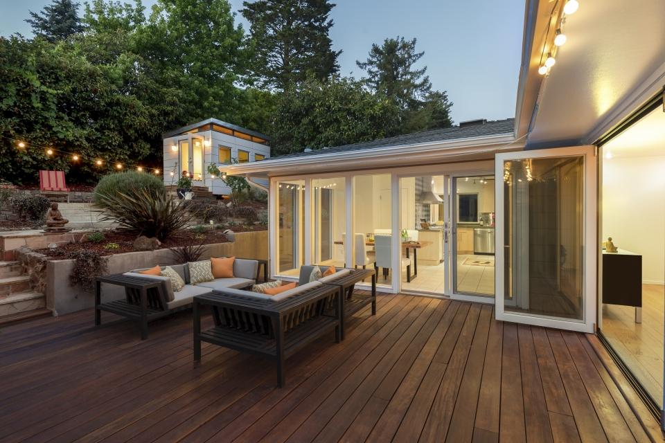 Amazing wooden deck at twilight.